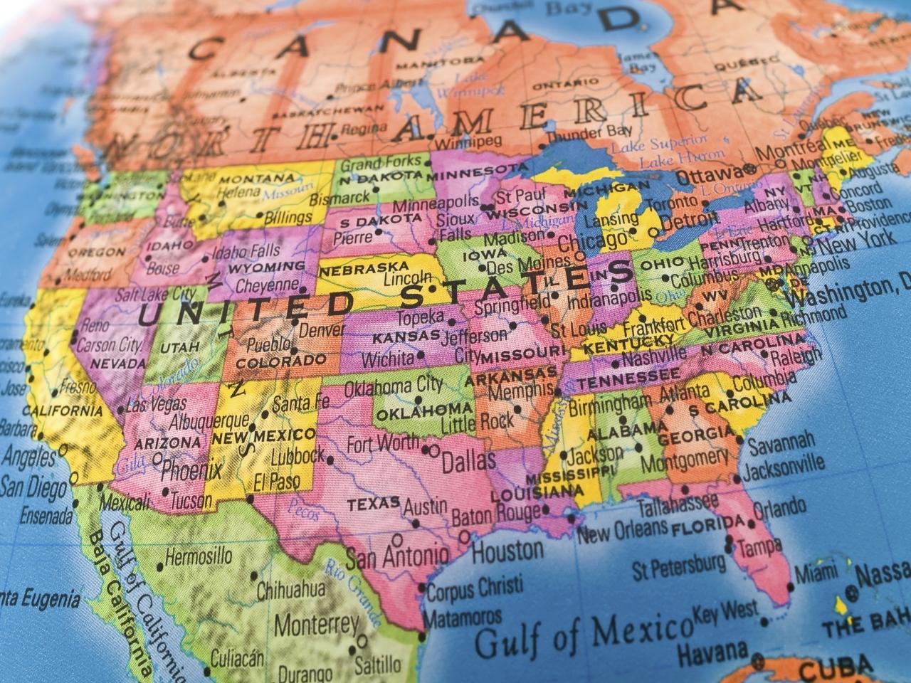 Bundesstaaten Der Usa 50 Staaten Auf Der Landkarte Der Usa